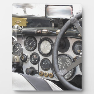 Dashboard of british classic sport car plaque