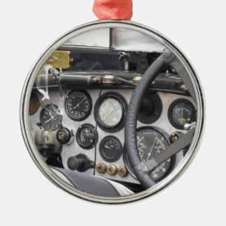 Dashboard of british classic sport car round metal christmas ornament