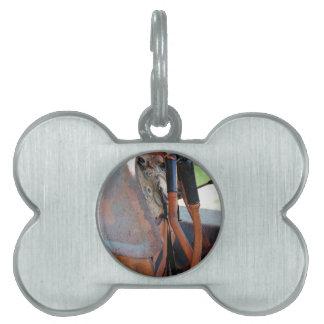 Dashboard of old italian crawler tractor pet ID tag
