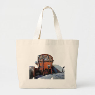Dashboard old italian crawler tractor large tote bag