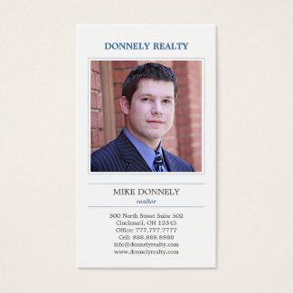 Dashed Border Photo Business Card - Blue