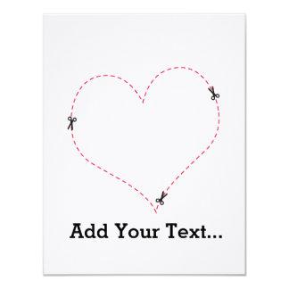 "Dashed Heart 4.25"" X 5.5"" Invitation Card"