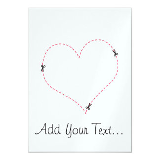 Dashed Heart 5x7 Paper Invitation Card