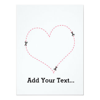 Dashed Heart 6.5x8.75 Paper Invitation Card