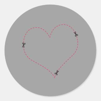 Dashed Heart Round Sticker