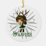 Dasher Double-Sided Ceramic Round Christmas Ornament