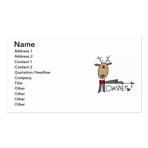 Dasher Reindeer Christmas T-shirts and Gifts Double-Sided Standard Business Cards (Pack Of 100)