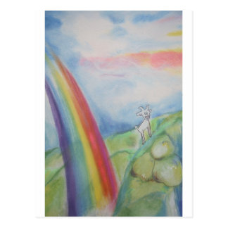 Dasher the Goat with a Fabulous Rainbow Postcard