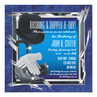 Dashing Custom 5.25 X 5.25 Invitations - Blue