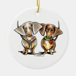 Dashing Dappled Dachshunds Double-Sided Ceramic Round Christmas Ornament
