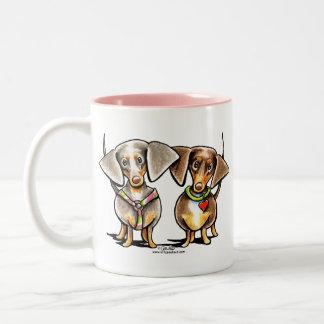 Dashing Dappled Dachshunds Two-Tone Coffee Mug