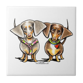 Dashing Dappled Dachshunds Small Square Tile