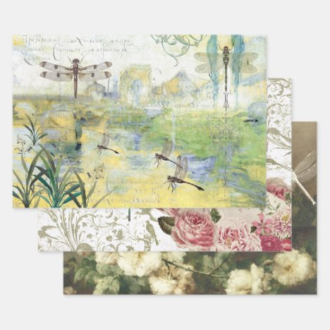 DASHING DRAGONFLYS HEAVY WEIGHT DECOUPAGE WRAPPING PAPER SHEETS