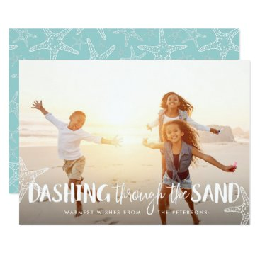 Beach Themed Dashing Through the Sand | Holiday Photo Card