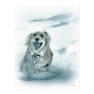"""""""Dashing through the snow"""" Golden Retriever Postcard"""