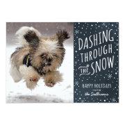 Dashing Through the Snow Holiday Pet Card Custom Invites