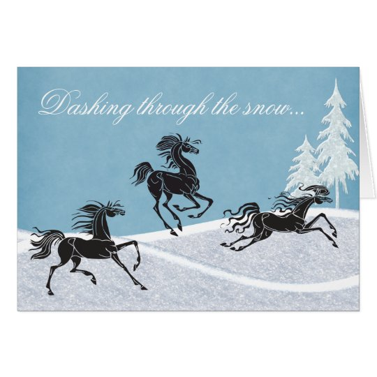 Dashing Through the Snow Horse Holiday Card