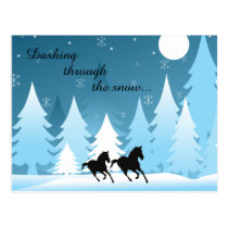 Dashing Through the Snow ~ Horse Holiday Christmas Postcard