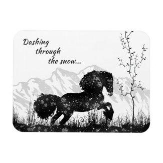 Dashing Through the Snow, Horse, Mountains Holiday Magnet
