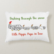 Dashing through the snow with Piggie Pups in tow Accent Pillow