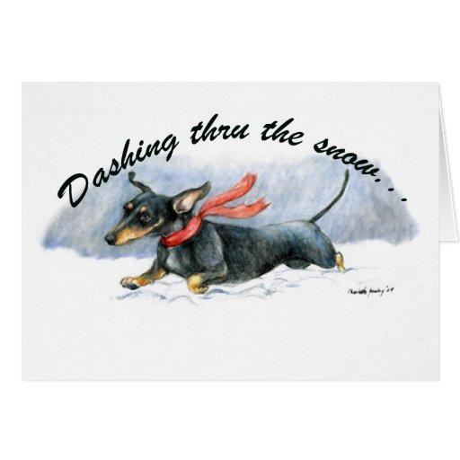 """Dashing Thru the Snow""Dachshund Art Greeting Card"