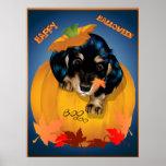 Dashund Halloween - poster del abucheo