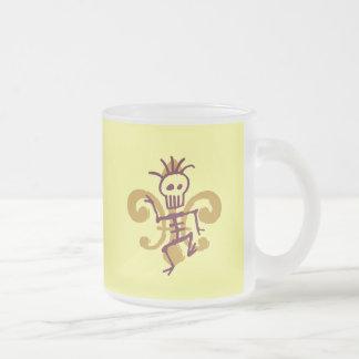 Dat To Da Bones, Fleur De Lis 10 Oz Frosted Glass Coffee Mug