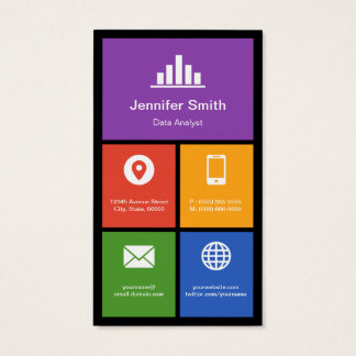 Data Analyst - Colorful Tiles Creative Business Card