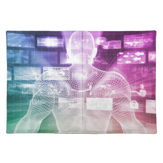 Data Center with System Administrator Navigating Cloth Placemat