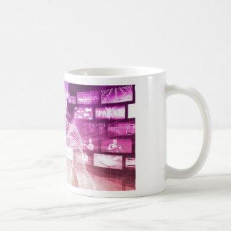 Data Center with System Administrator Navigating Coffee Mug