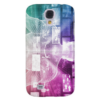 Data Center with System Administrator Navigating Galaxy S4 Case