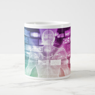 Data Center with System Administrator Navigating Giant Coffee Mug