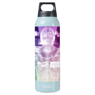 Data Center with System Administrator Navigating Insulated Water Bottle