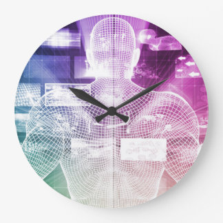 Data Center with System Administrator Navigating Large Clock