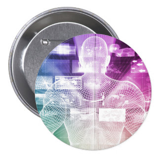 Data Center with System Administrator Navigating Pinback Button
