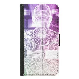 Data Center with System Administrator Navigating Samsung Galaxy S5 Wallet Case