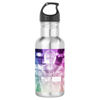 Data Center with System Administrator Navigating Stainless Steel Water Bottle