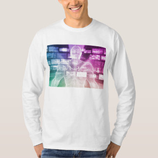 Data Center with System Administrator Navigating T-Shirt