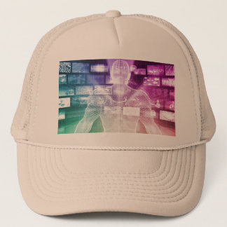 Data Center with System Administrator Navigating Trucker Hat