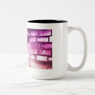 Data Center with System Administrator Navigating Two-Tone Coffee Mug