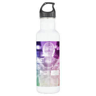 Data Center with System Administrator Navigating Water Bottle