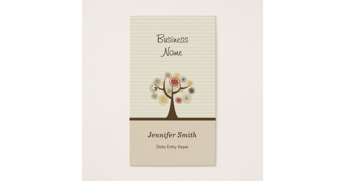 Data Entry Keyer - Stylish Natural Theme Business Card | Zazzle.com