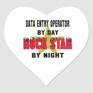 Data entry operator by Day rockstar by night Heart Sticker