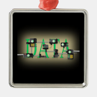 Data Security Square Metal Christmas Ornament