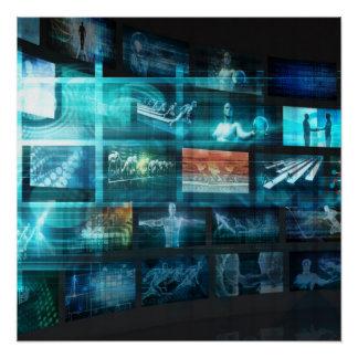 Data Stream of Internet Digital Information Moving Poster