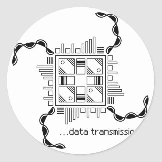 Data Transmission Classic Round Sticker