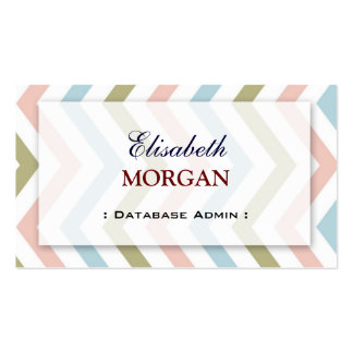 Database Admin - Natural Graceful Chevron Business Cards