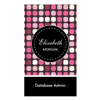 Database Admin- Pink Polka Pattern Business Cards