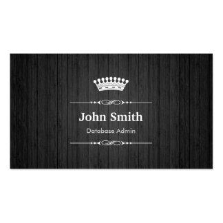 Database Admin Royal Black Wood Grain Business Card