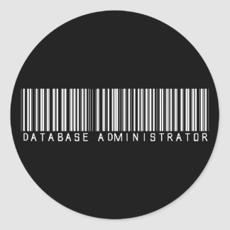 Database Administrator Bar Code Classic Round Sticker